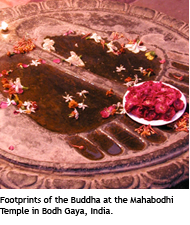 Footprints of the Buddha at the Mahabodhi Temple in Bodh Gaya, India