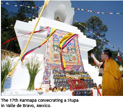 The 17th Karmapa consecrating a Stupa in Valle de Bravo, Mexico